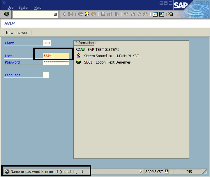 How to Reset SAP* Logon Password