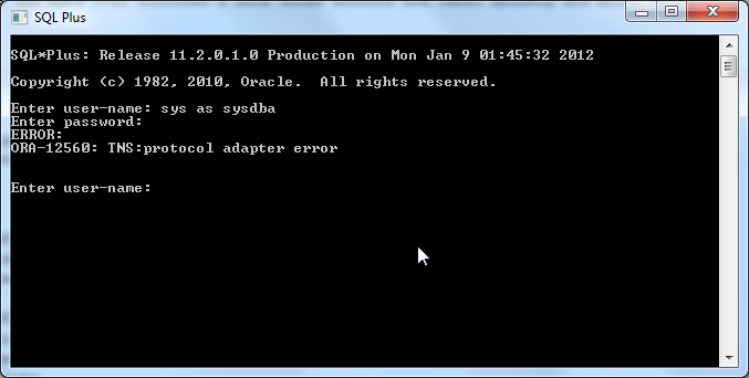 ORA-12560: TNS:protocol adapter error