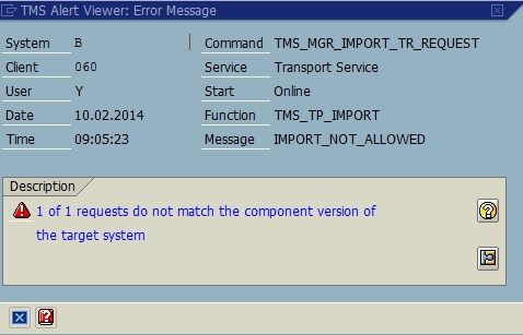 "STMS Message ""requests do not match the component version of the target system"""