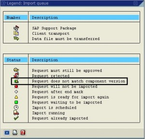 requests do not match the component version of the target system 05
