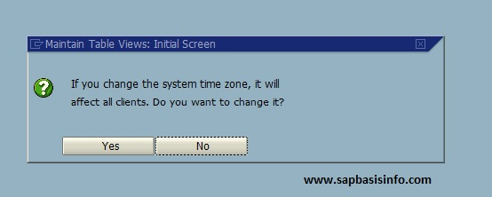 Change SAP System Time Zone