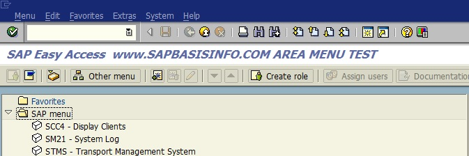Create SAP Area Menu