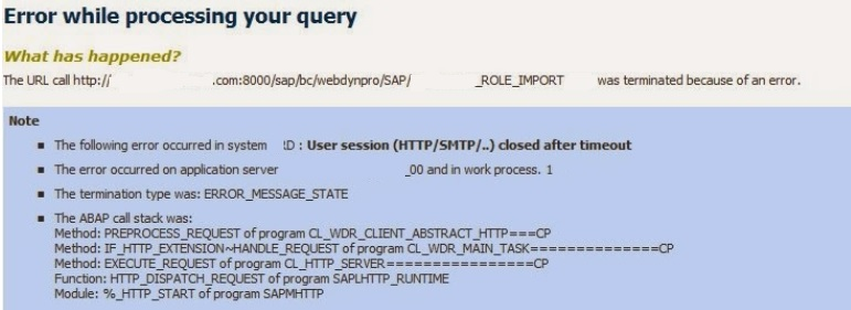 User Session Closed After Timeout for Webdynpro