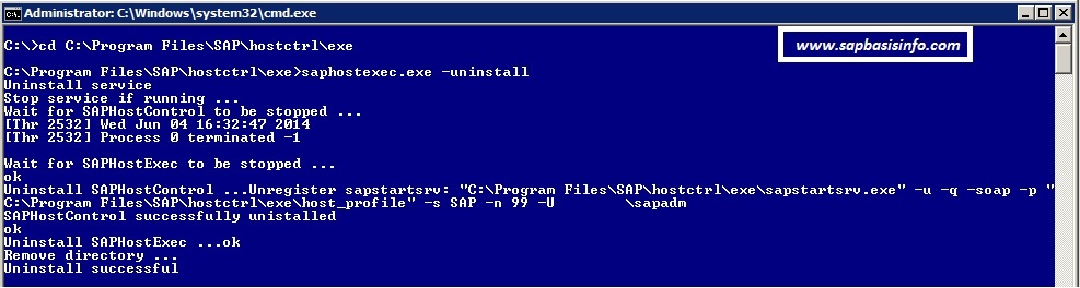 Uninstall SAP Host Agent