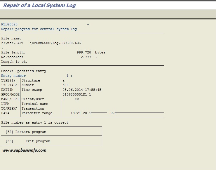 SAP Local System Log Repair