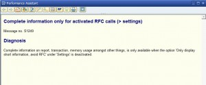 Complete information only for activated RFC calls (> settings)