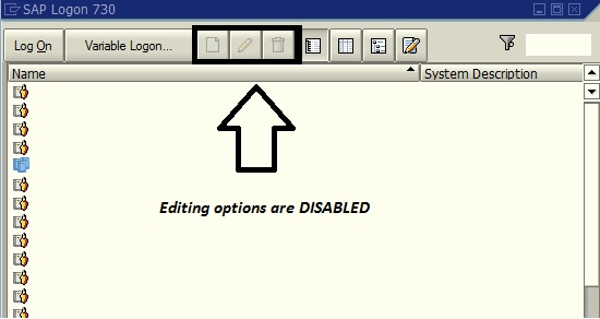 DISABLE / ENABLE SAPGUI Editing Options on SAPGUI Version