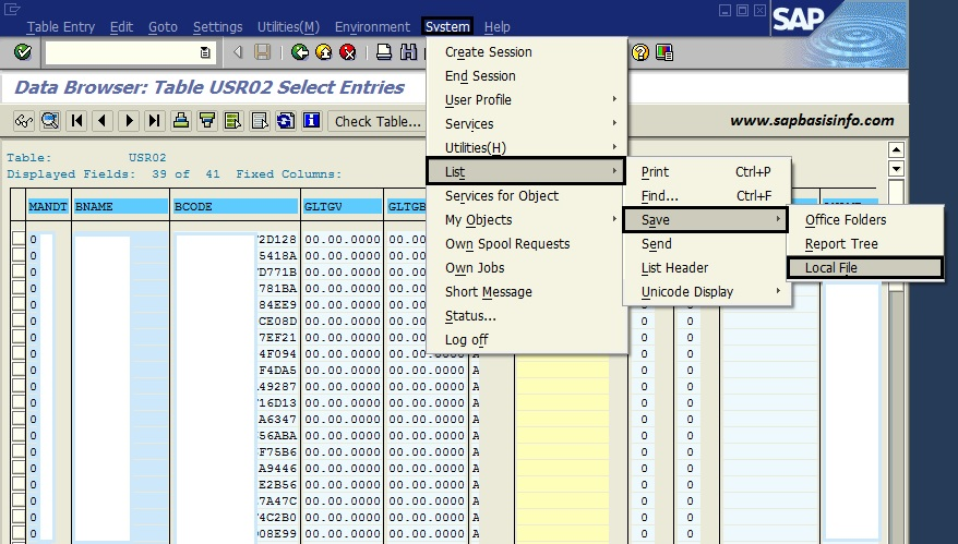 Export SAP Screen as Excel , Word or HTML File