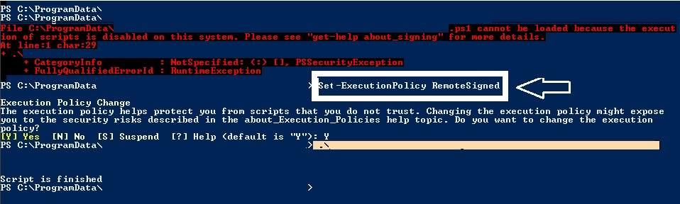 "PowerShell : ""execution of scripts is disabled on this system."""