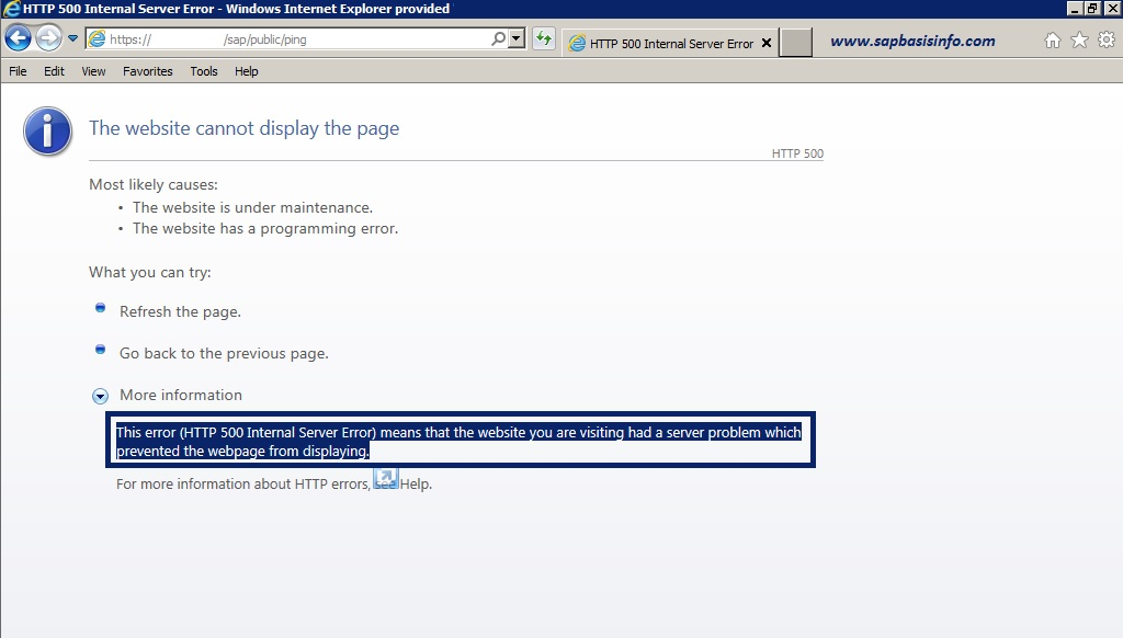 """HTTP 500 Internal Server Error"" after Activating SAP Web Dispatcher"