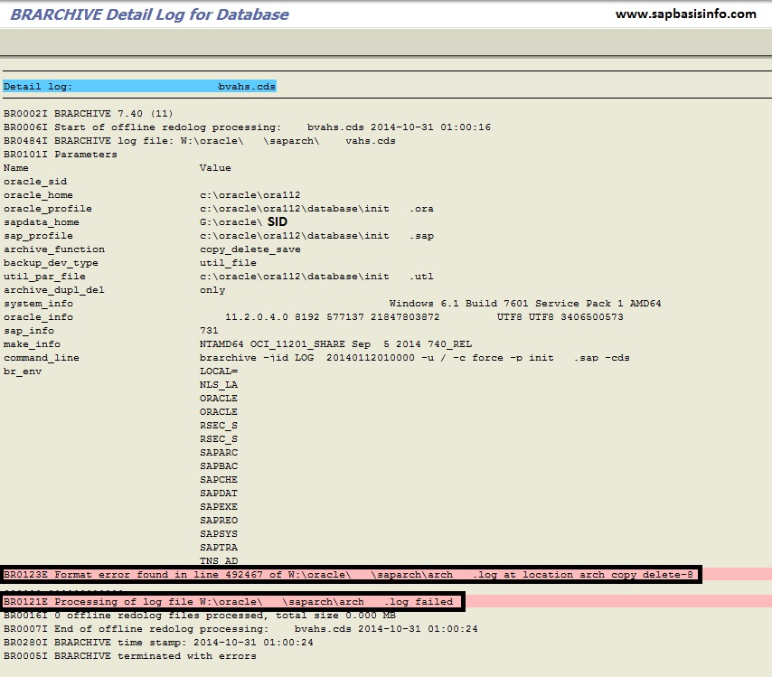 """BR0123E Format error found in line"" for ArchSID.log file"