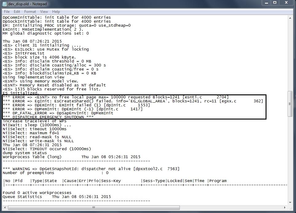 ERROR => EgInit: EsCreateShared() failed. info='EG_GLOBAL_AREA' while EHP7 Upgrade