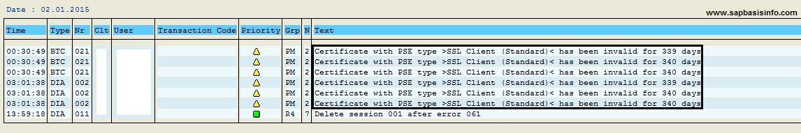 Certificate with PSE type >SSL Client (Standard)< has been invalid for X days