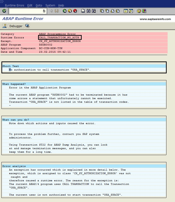 """No authorization to call transaction """"ORA_SPACE"""" after EHP upgrade for DB02 or ST04"""