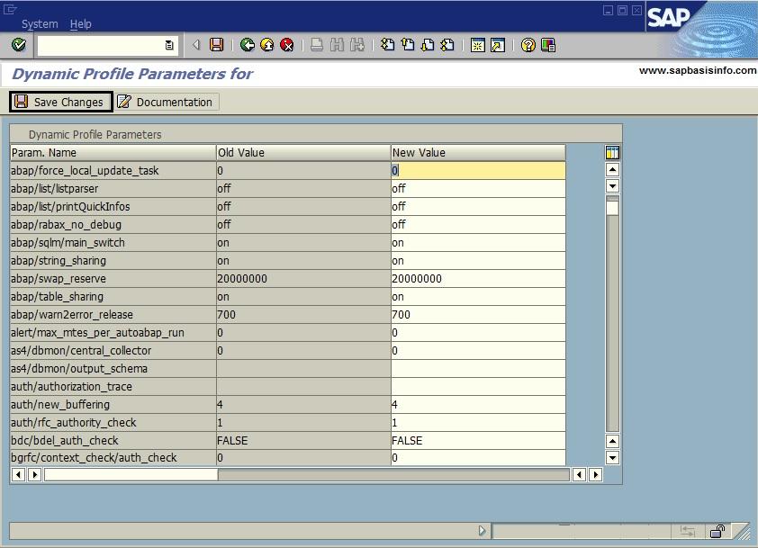 List All SAP Dynamic Parameters