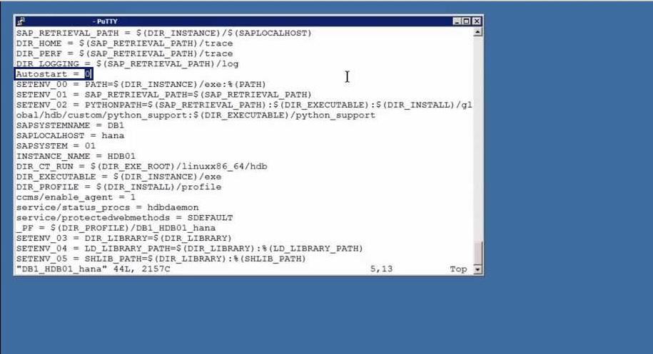 Enabling AUTOSTART of SAP HANA Database on Server Boot Situation