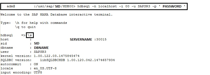 Use SAP HANA HDBSQL to execute SQL commands at OS level