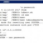 Reset the HANA SYSTEM User's Password