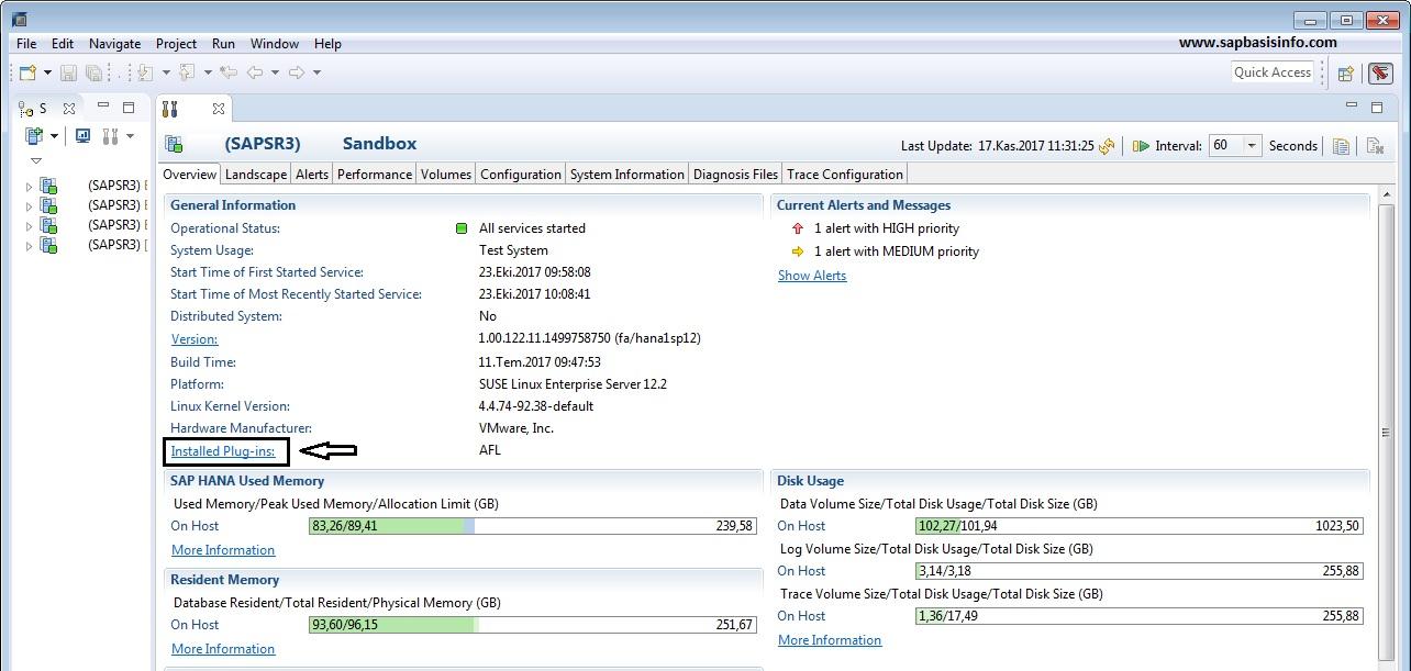 Find Installed Plugins on HANA Database