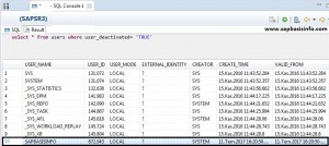 Activate / Deactivate user in SAP HANA DB