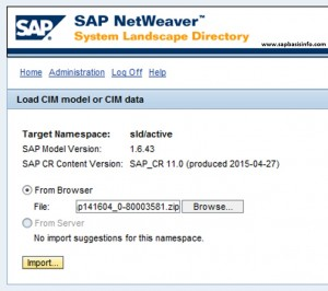 SLD Content (Model Version and SAP_CR) Update