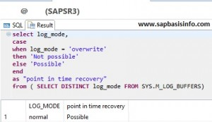 HANA Log Status Check Point int Time Recovery Possible or Not