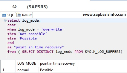 HANA Log Status Check Point in Time Recovery Possible or Not