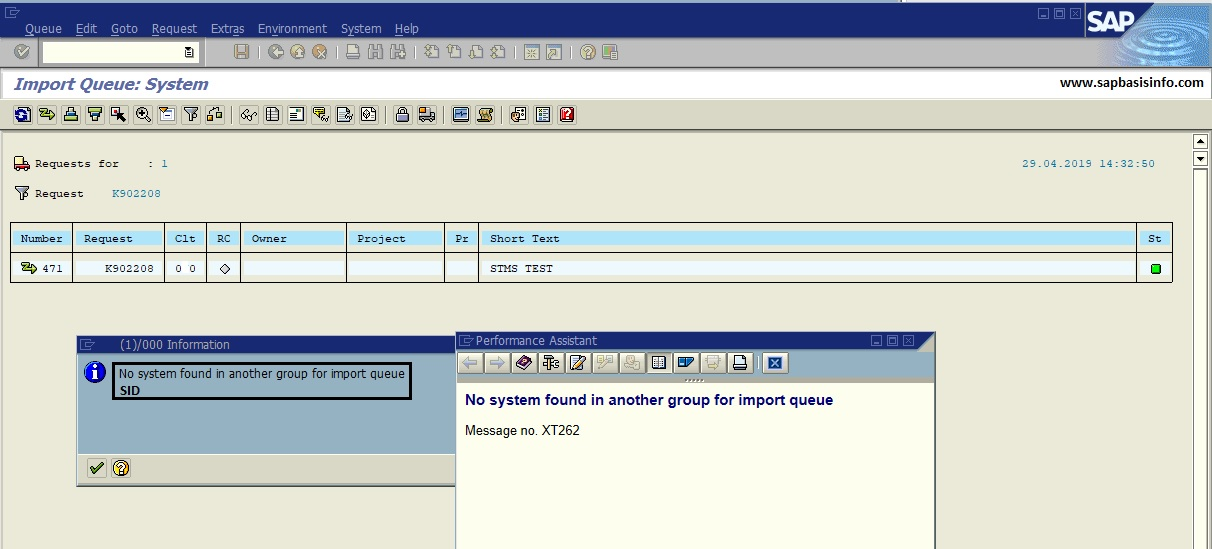 No System Found in Another Group for Import Queue SID