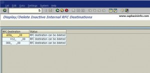 Find out inactive RFC Definitions in SM59