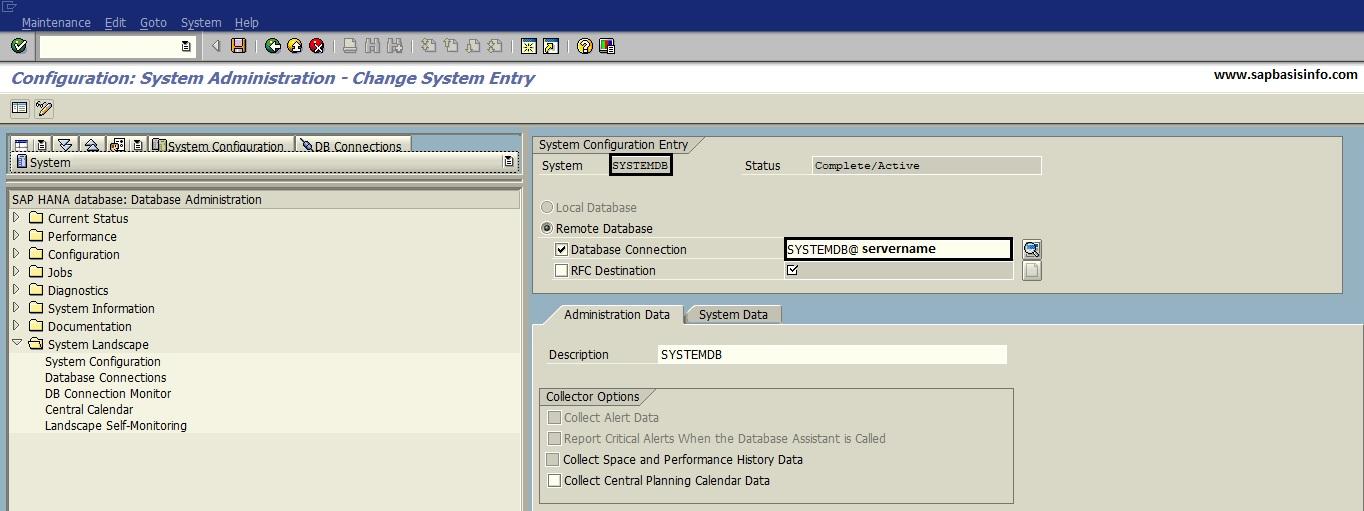 Adding SYSTEMDB database via DBACOCKPIT for DB13 Actions