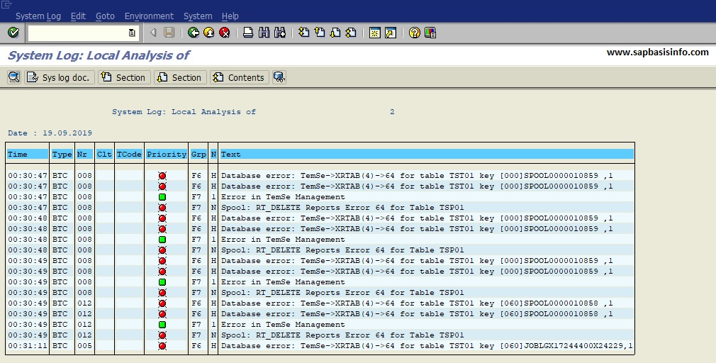 Database error: TemSe->XRTAB(4)->64 for table TST01