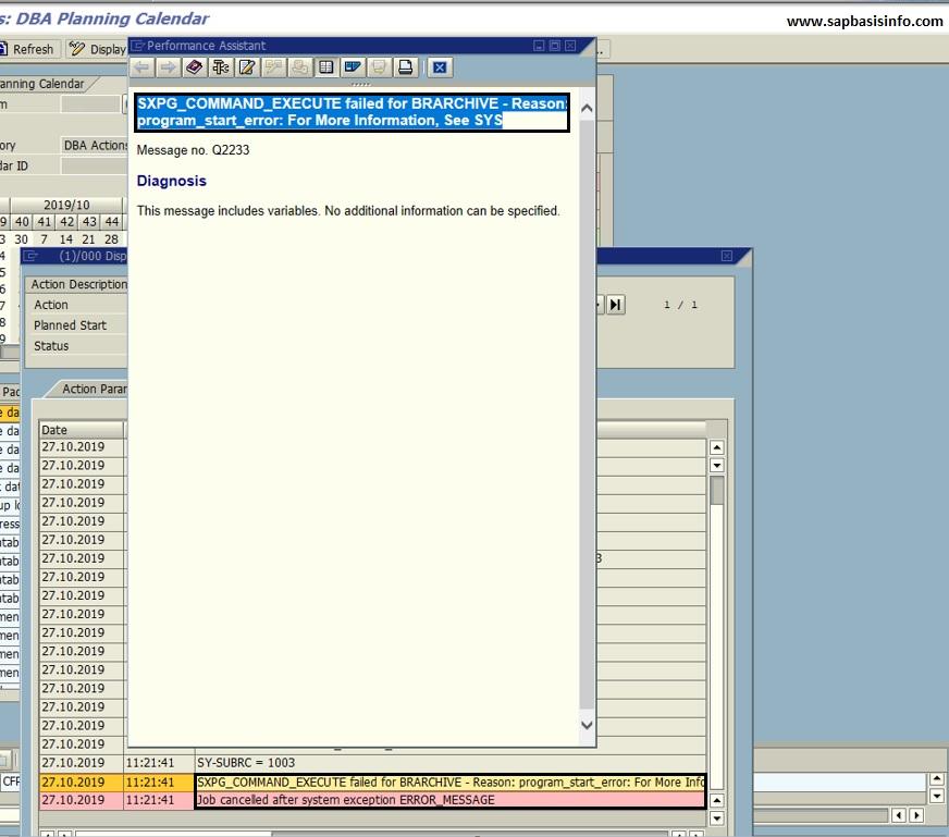 SXPG_COMMAND_EXECUTE failed Reason : program_start_error