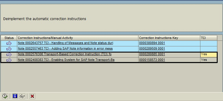 Enabling the System for SAP Note Transport-based Correction Instruction Rollback